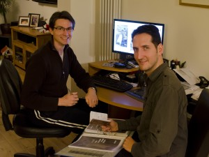 Writer Christophe Philipps and artist Simon Newbury during a production meeting.